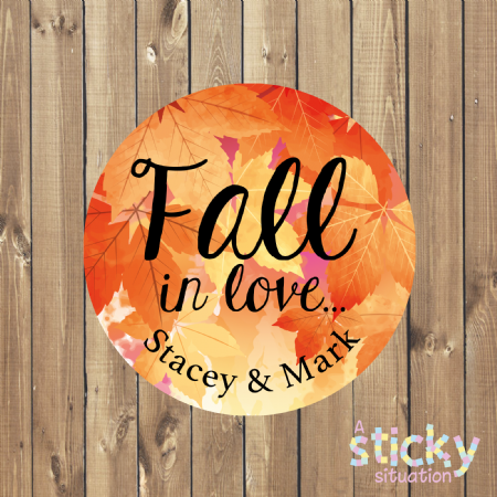 Personalised 'Fall in Love' Autumn Wedding Stickers